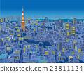 俯视东京夜视图的城市的例证 23811124