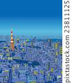 도쿄 부감 한 상가 일러스트 야경 23811125