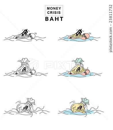 Money Crisis Concept Thai Baht Symbol Stock Illustration