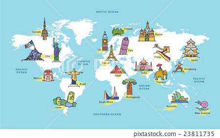 World map with famous country landmark symbol stock for Special landmarks