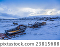 Reeinder close to its sled in norwegian lapland 23815688