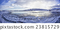 Snowy Beach panorama in Norway winter 23815729