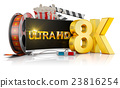8K TV, popcorn and film 23816254