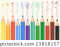 Colorful Colored Pencils set. Realistic pencils. 23818157