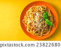 Spaghetti Bolognese on the orange plate 23822680