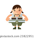 woman and box lunch icon, brown Color 23822951