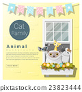 Cute animal family background with Cats 4 23823444