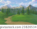 Pine forest mountain paint illustration background 23826534
