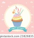 cupcake unicorn birthday card pink background 23826835