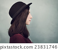 Profile Portrait Lady Wearing Hat Concept 23831746