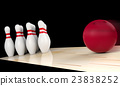 Bowling ball moving straight to bowling pin 23838252