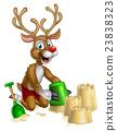 Christmas Reindeer on Summer Beach 23838323