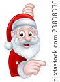 Santa Pointing Cartoon Sign 23838330