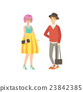 Girl With Pink Hair In Yellow Skirt And Guy  Shotr 23842385