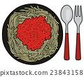 Spaghetti on the black plate 23843158