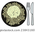 Pasta on the black plate 23843160