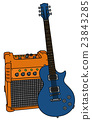 Blue electric guitar and the combo 23843285