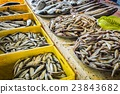 fresh fish in different sizes laying on a table 23843682