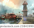 fishing boat in harbor,illustration 23843990