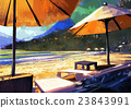 sun umbrellas and loungers on beach 23843991