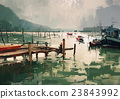 jetty and fishing boats at harbor 23843992