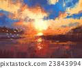 sunset on the lake,illustration 23843994