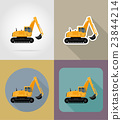 excavator for road works flat icons vector 23844214