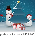 snowman family in Christmas winter scene with sign 23854345