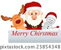 santa claus reindeer and snowman 23854348