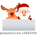 santa claus reindeer and snowman 23854349