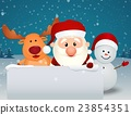santa claus reindeer and snowman 23854351