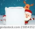 santa claus reindeer and snowman 23854352