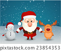 santa claus reindeer and snowman 23854353