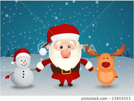 santa claus reindeer and snowman 23854353