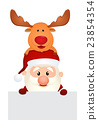 santa claus reindeer and snowman 23854354