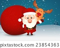 Santa Claus and bag with reindeer on winter scene 23854363