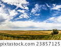 Wheat field with blue sky with sun and clouds 23857125