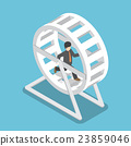 Businessman in a suit running in a hamster wheel 23859046