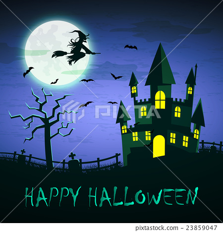 Witch flying on a magic broomstick over the castle 23859047
