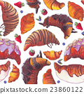 Seamless pattern with croissant and berries. 23860122