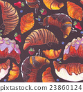 Seamless pattern with croissant and berries. 23860124