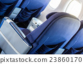 Empty old airplane seats in the cabin 23860170