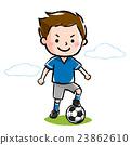 ボールに足を乗せてポーズを決める、サッカー少年 23862610