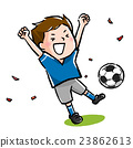 サッカーの試合に勝って、喜ぶ子ども 23862613