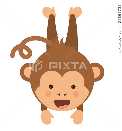 funny monkey character isolated icon design 23863735
