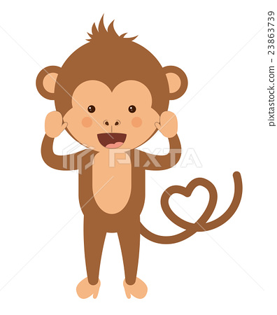 funny monkey character isolated icon design 23863739