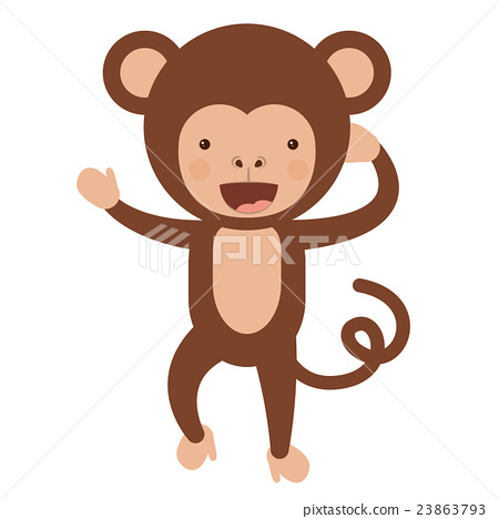 funny monkey character isolated icon design 23863793