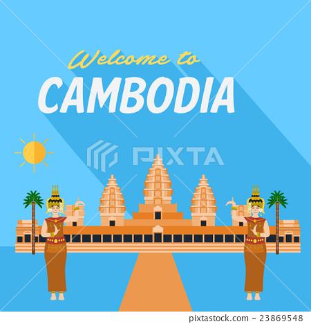 Flat design, Illustration of Cambodia landmarks 23869548