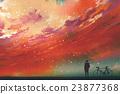 man standing against red clouds in the sky 23877368