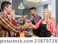 Barista serving clients give cup tea coffee shop 23879728